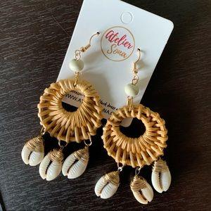 Atelier Sona Rattan Cowrie Shell Earrings